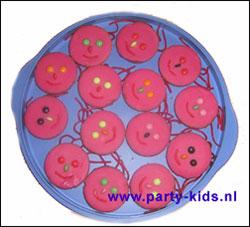roze koek gezichtjes
