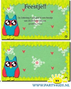 Uil uitnodiging of verjaardagskaart