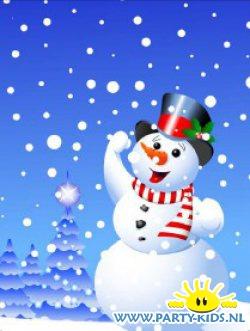 Traktatietas met sneeuwpop