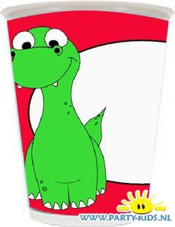 beker met dinosaurus en eigen naam