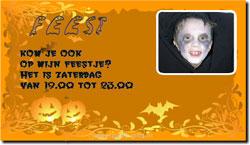 Halloween kaart met pompoenplaatjes