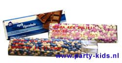 Geboorte chocoladereep met eigen tekst