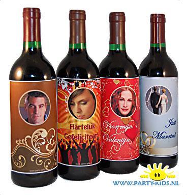 Beste Zelf (Wijn)fles etiketten maken met foto - party-kids.nl NZ-13