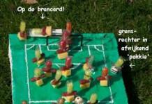 Voetbalveld met spelers (variant 3)