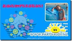 Zwemfeestje uitnodiging maken en printen met foto