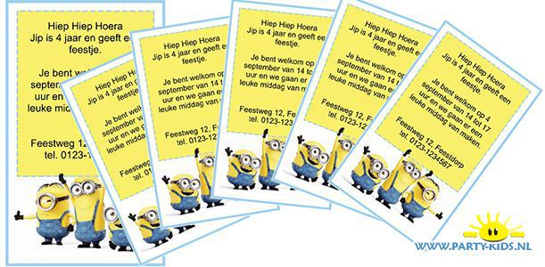 Populair Minions uitnodigingen - party-kids.nl &XY17