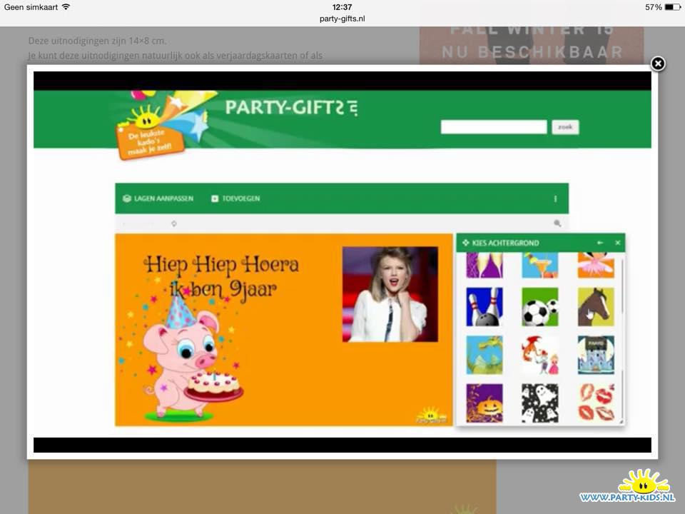 party-gifts uitnodiging