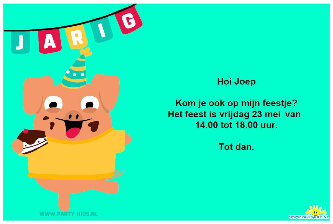 Feestvarken Uitnodiging Party Kids Nl